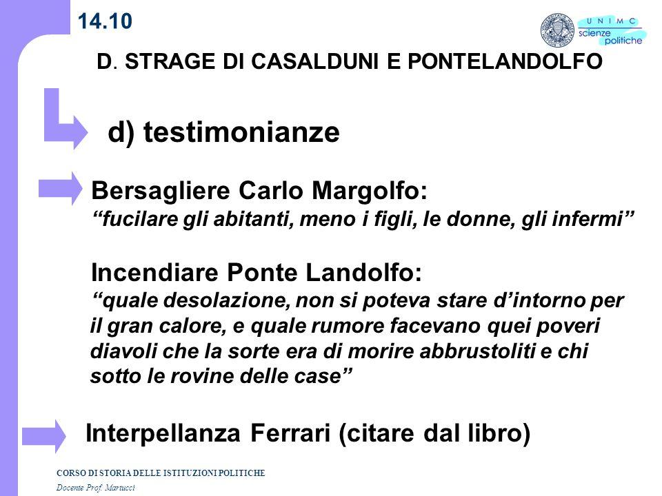 d) testimonianze Bersagliere Carlo Margolfo: