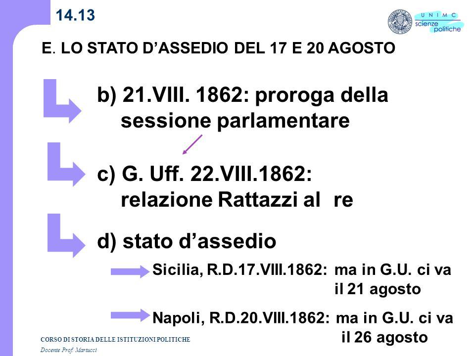 b) 21.VIII. 1862: proroga della sessione parlamentare