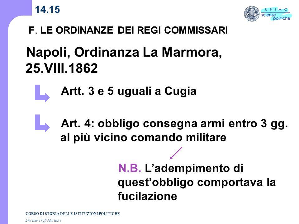 Napoli, Ordinanza La Marmora, 25.VIII.1862