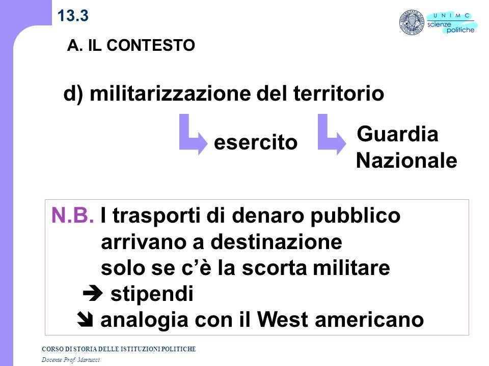 d) militarizzazione del territorio