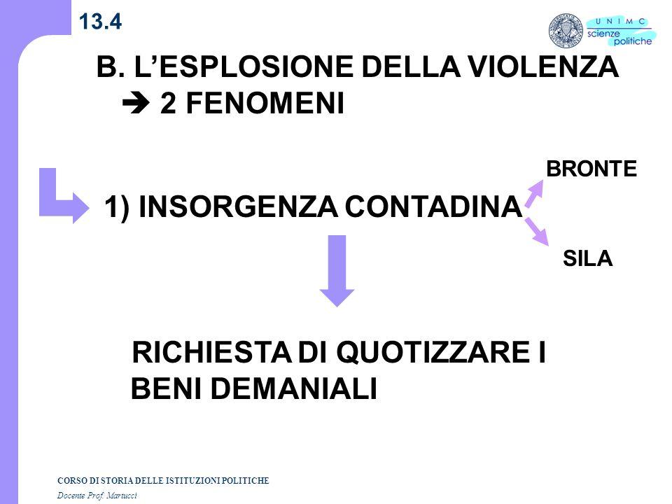 B. L'ESPLOSIONE DELLA VIOLENZA  2 FENOMENI