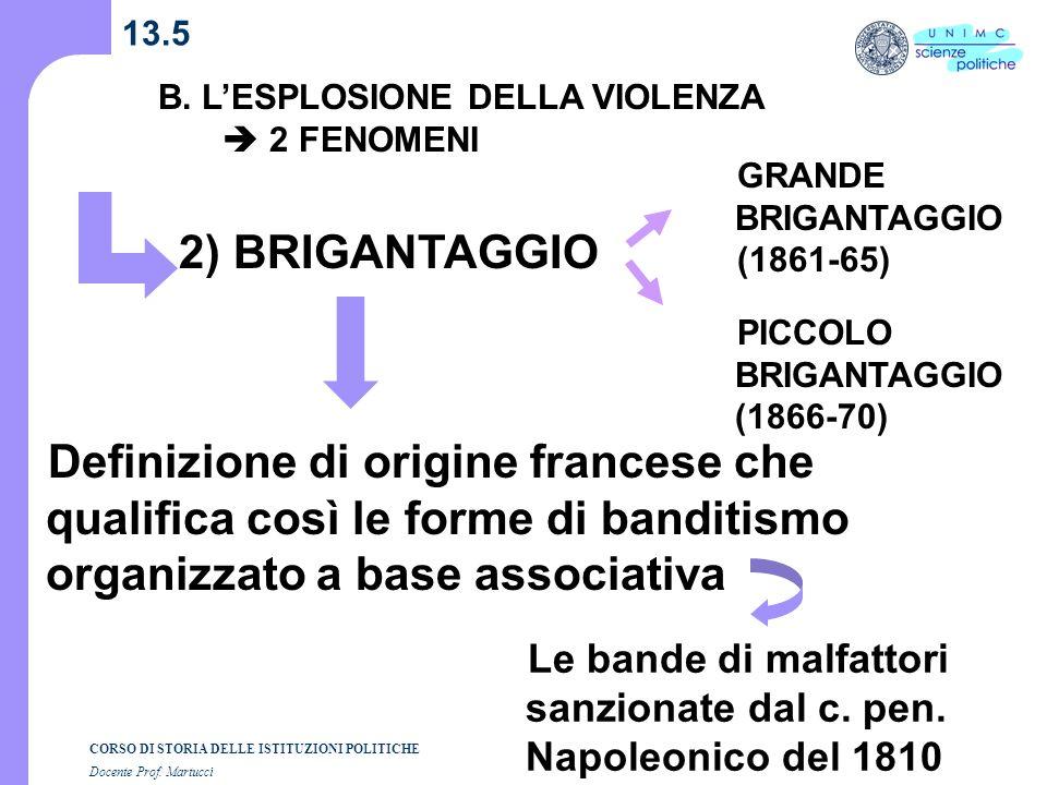 13.5 B. L'ESPLOSIONE DELLA VIOLENZA.  2 FENOMENI. GRANDE BRIGANTAGGIO. (1861-65) 2) BRIGANTAGGIO.