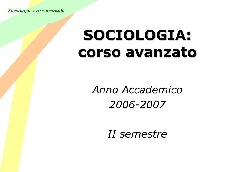 SOCIOLOGIA: corso avanzato