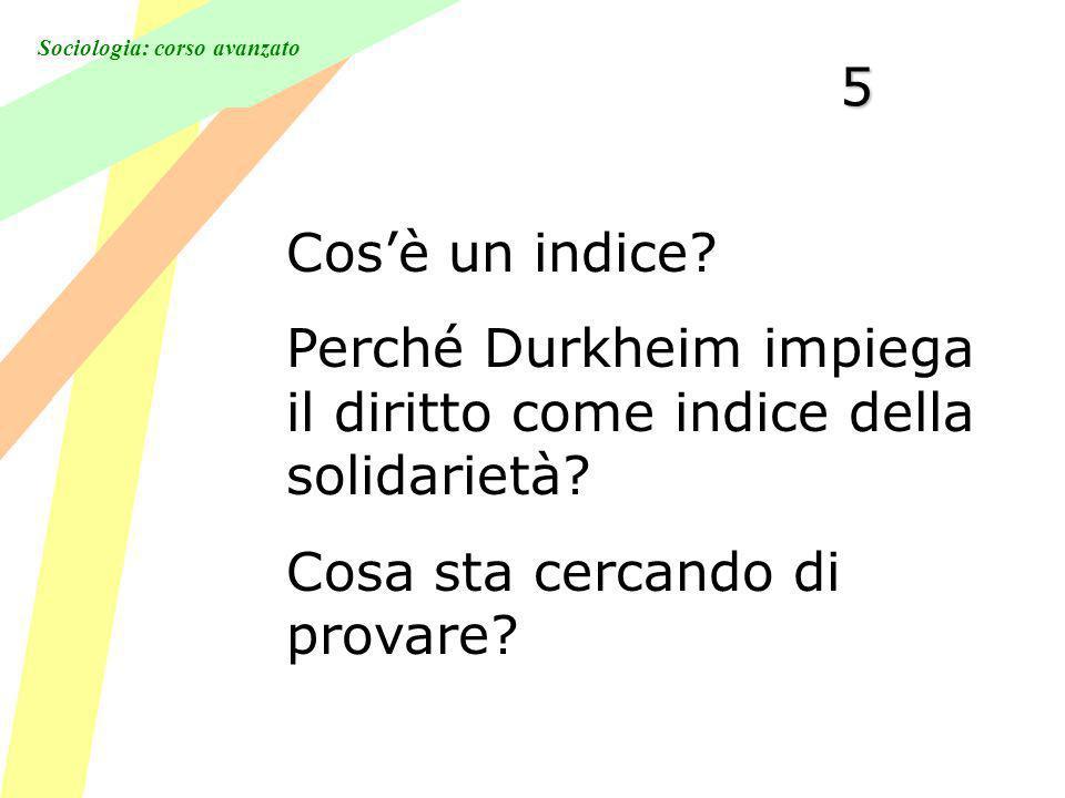 5 Cos'è un indice. Perché Durkheim impiega il diritto come indice della solidarietà.