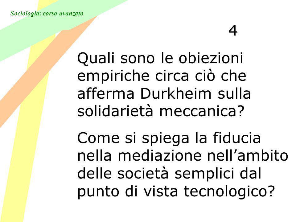 4 Quali sono le obiezioni empiriche circa ciò che afferma Durkheim sulla solidarietà meccanica