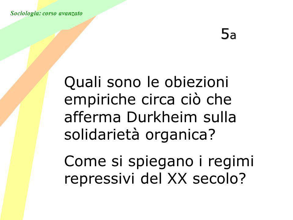 5a Quali sono le obiezioni empiriche circa ciò che afferma Durkheim sulla solidarietà organica.