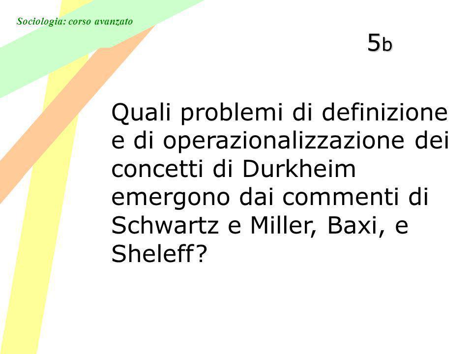 5b Quali problemi di definizione e di operazionalizzazione dei concetti di Durkheim emergono dai commenti di Schwartz e Miller, Baxi, e Sheleff