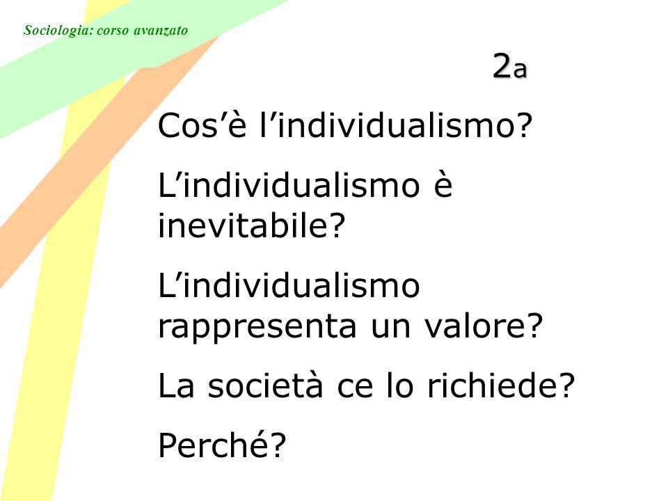 2a Cos'è l'individualismo L'individualismo è inevitabile L'individualismo rappresenta un valore