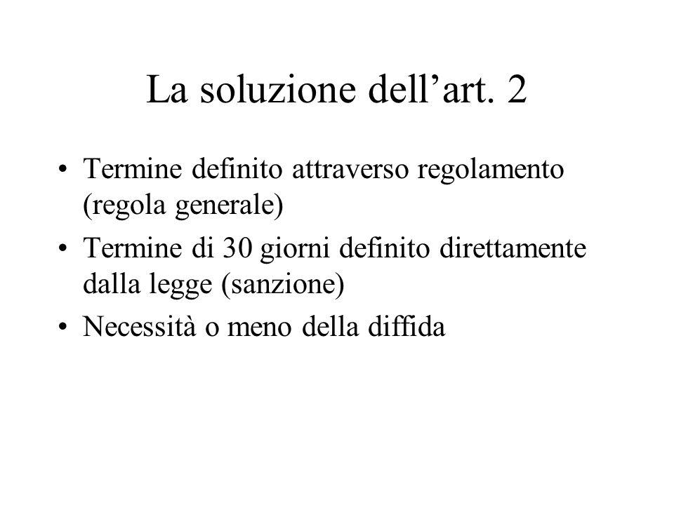 La soluzione dell'art. 2 Termine definito attraverso regolamento (regola generale) Termine di 30 giorni definito direttamente dalla legge (sanzione)