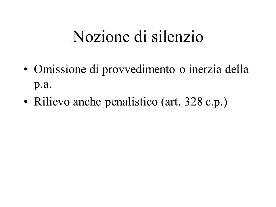 Nozione di silenzio Omissione di provvedimento o inerzia della p.a.