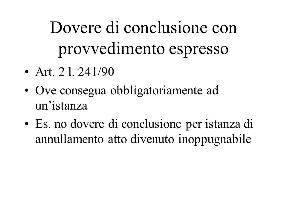 Dovere di conclusione con provvedimento espresso