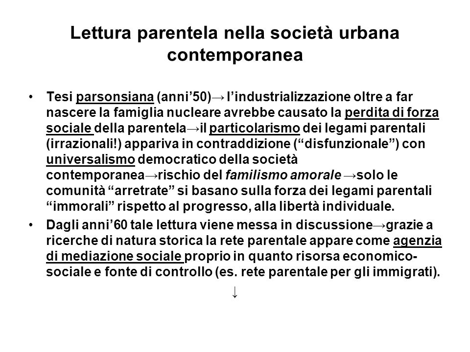Lettura parentela nella società urbana contemporanea