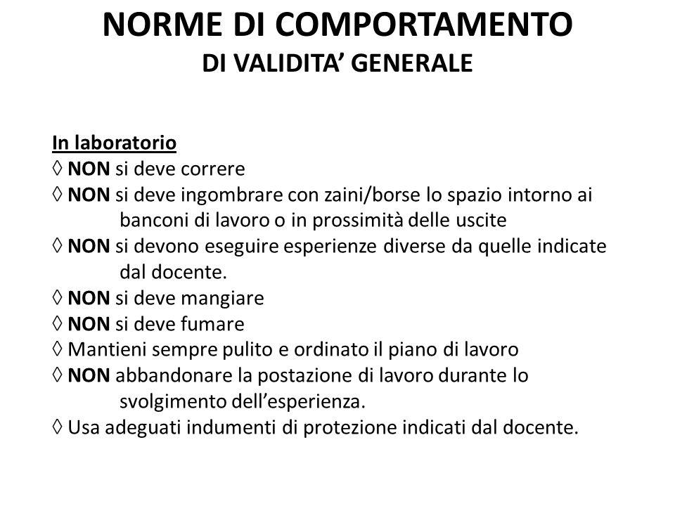 NORME DI COMPORTAMENTO DI VALIDITA' GENERALE