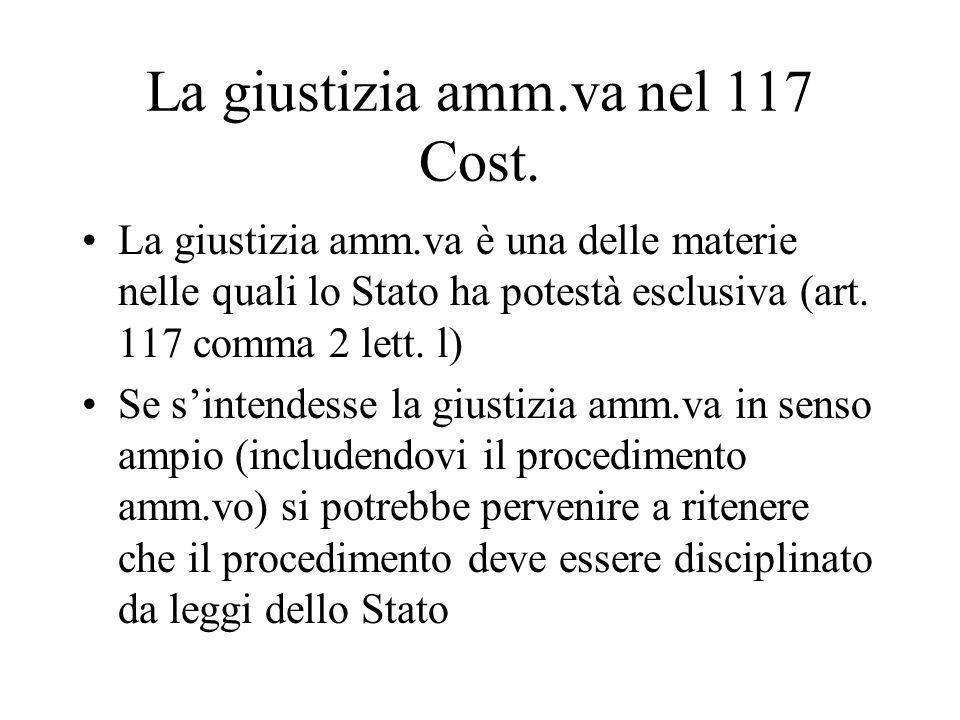 La giustizia amm.va nel 117 Cost.