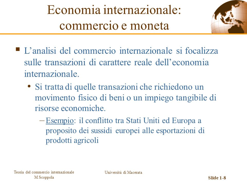 Economia internazionale: commercio e moneta