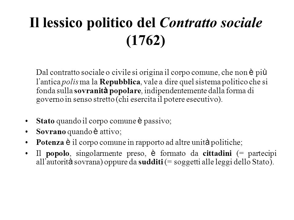 Il lessico politico del Contratto sociale (1762)