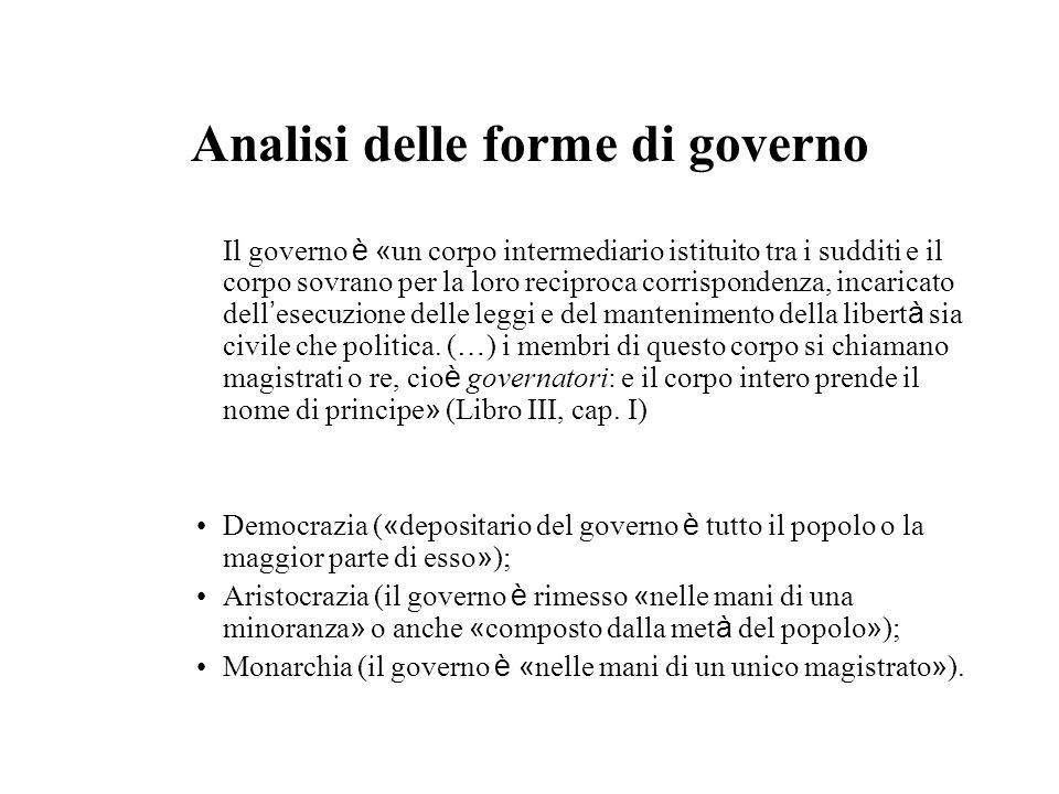 Analisi delle forme di governo