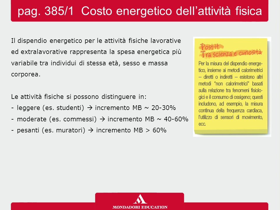 pag. 385/1 Costo energetico dell'attività fisica