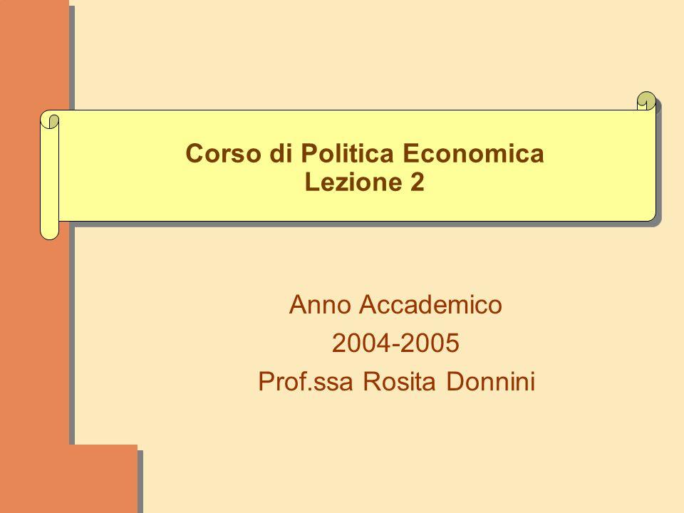 Corso di Politica Economica Lezione 2