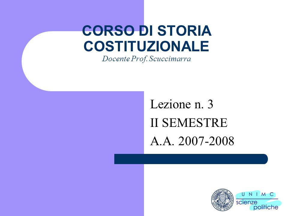 CORSO DI STORIA COSTITUZIONALE Docente Prof. Scuccimarra