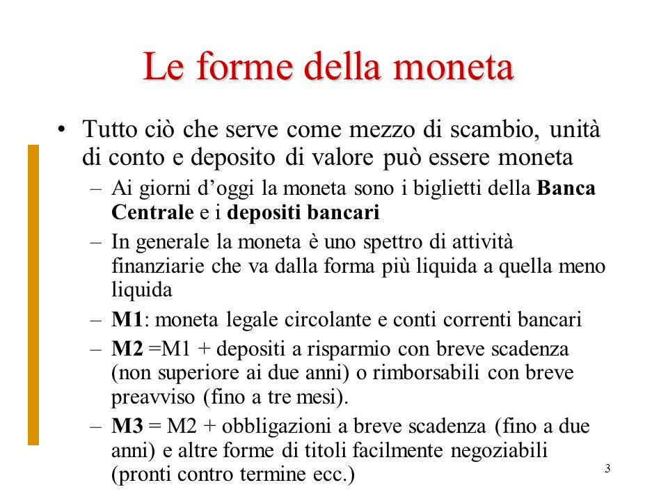 Le forme della moneta Tutto ciò che serve come mezzo di scambio, unità di conto e deposito di valore può essere moneta.