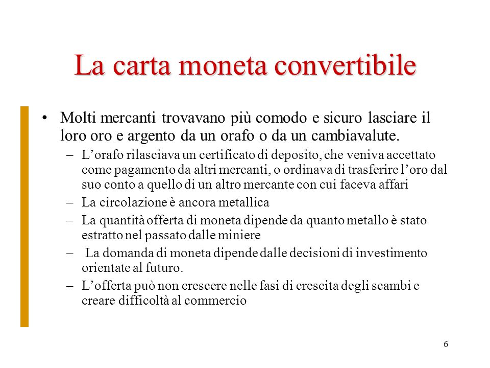 La carta moneta convertibile