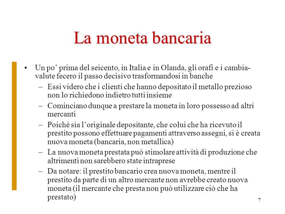 La moneta bancaria Un po' prima del seicento, in Italia e in Olanda, gli orafi e i cambia-valute fecero il passo decisivo trasformandosi in banche.