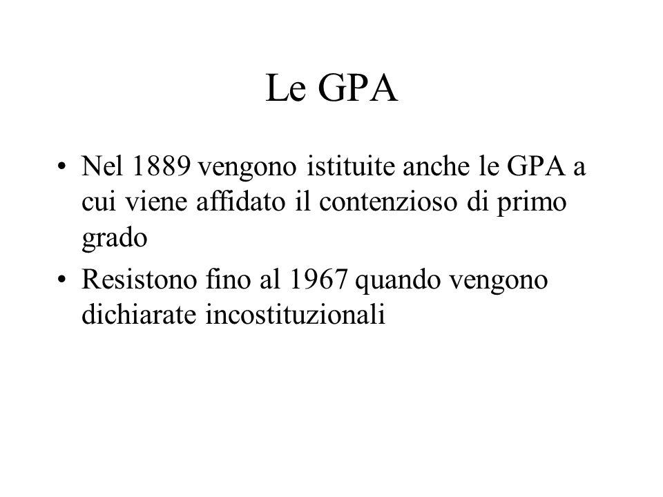 Le GPA Nel 1889 vengono istituite anche le GPA a cui viene affidato il contenzioso di primo grado.