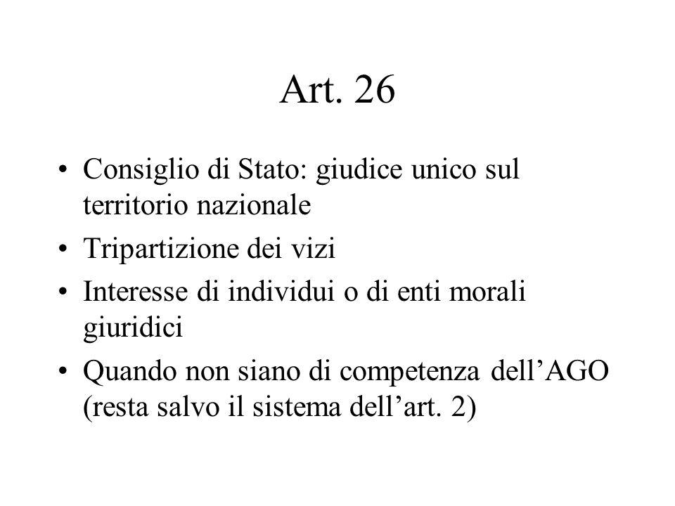 Art. 26 Consiglio di Stato: giudice unico sul territorio nazionale