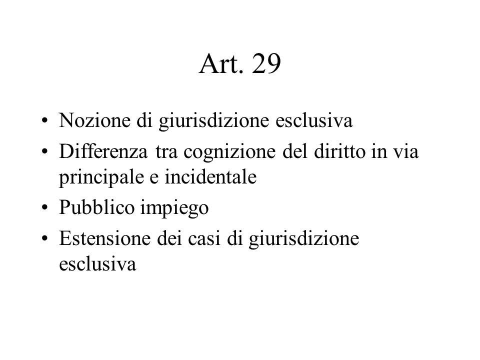 Art. 29 Nozione di giurisdizione esclusiva