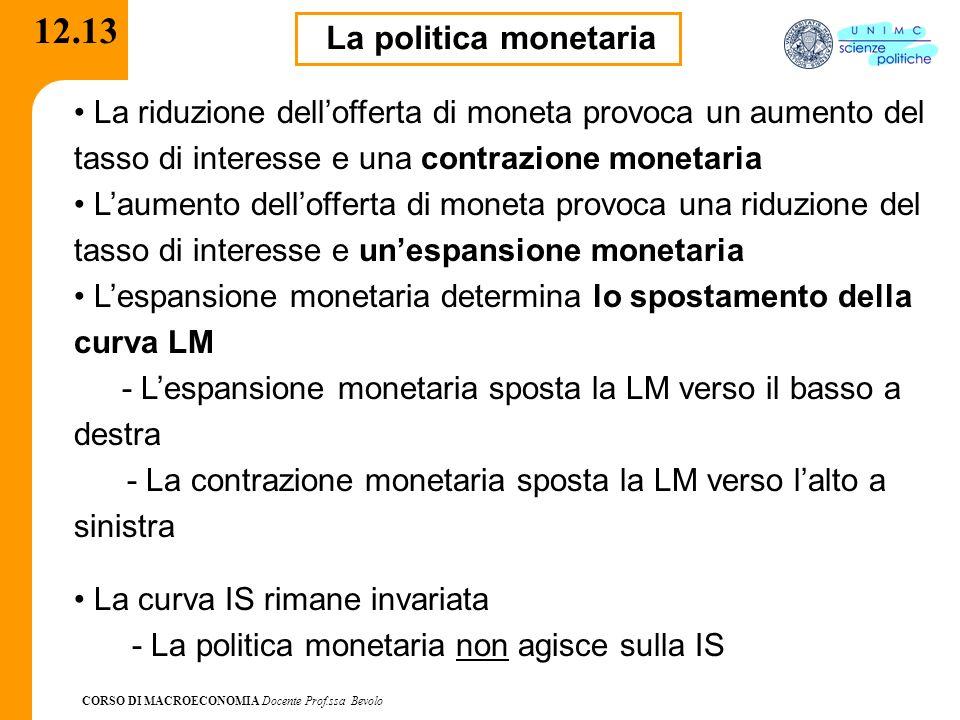 12.13 La politica monetaria. La riduzione dell'offerta di moneta provoca un aumento del tasso di interesse e una contrazione monetaria.