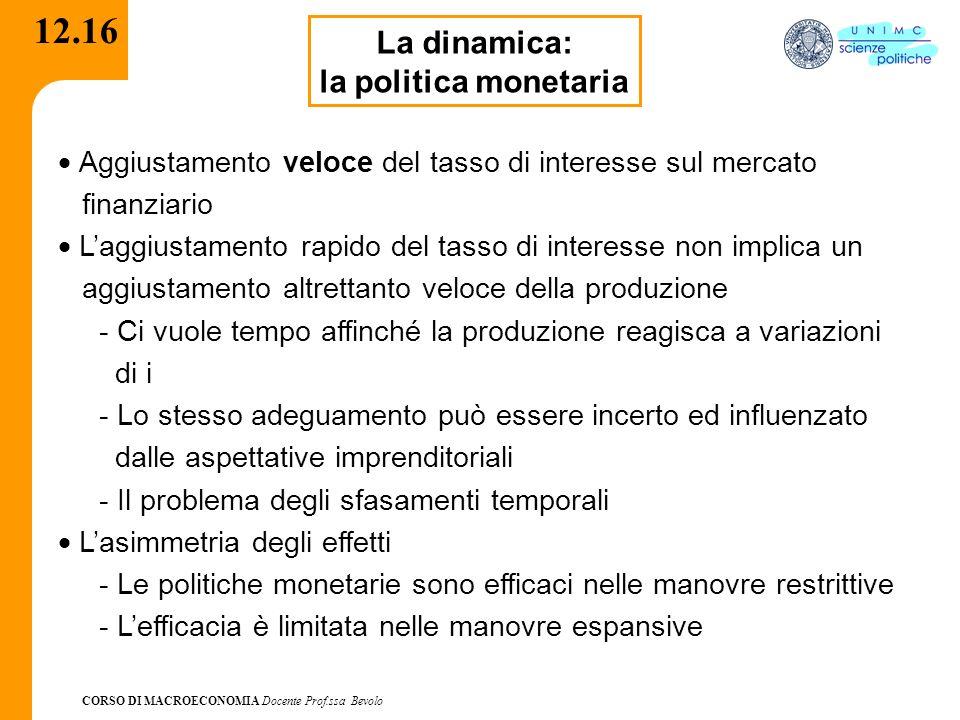 12.16 La dinamica: la politica monetaria