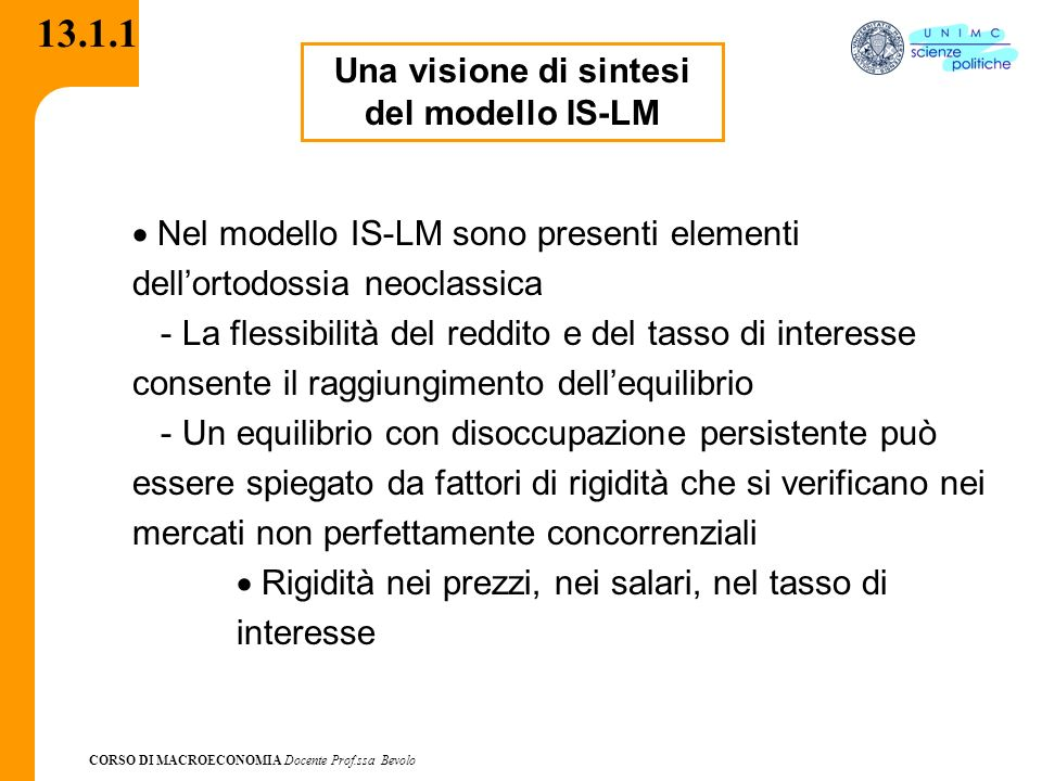 Una visione di sintesi del modello IS-LM