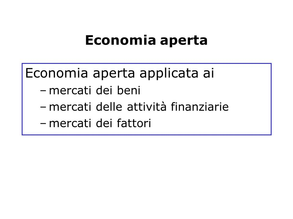 Economia aperta applicata ai