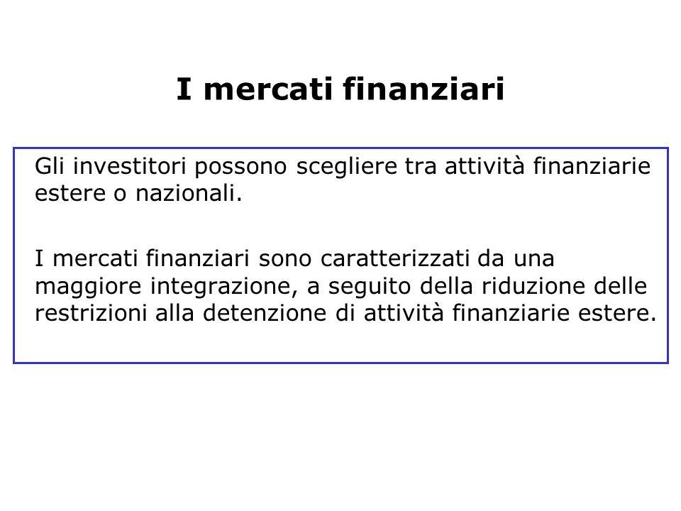 I mercati finanziari Gli investitori possono scegliere tra attività finanziarie estere o nazionali.