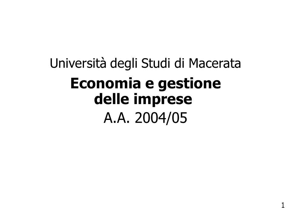 Economia e gestione delle imprese A.A. 2004/05
