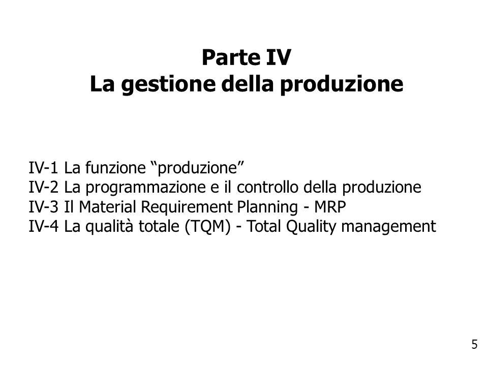 La gestione della produzione