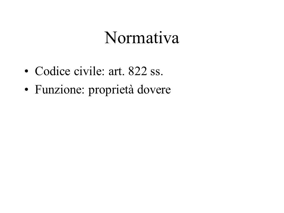 Normativa Codice civile: art. 822 ss. Funzione: proprietà dovere