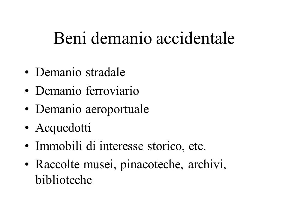 Beni demanio accidentale