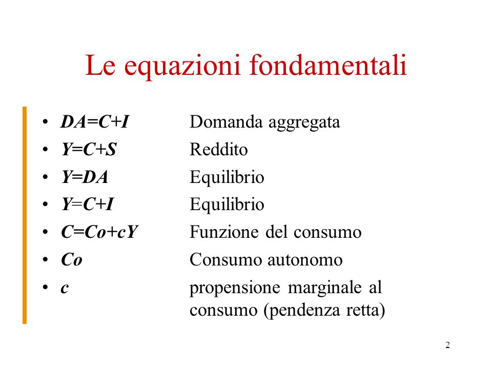 Le equazioni fondamentali