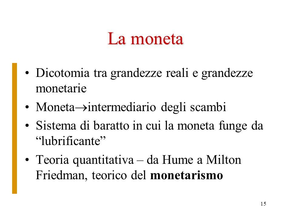 La moneta Dicotomia tra grandezze reali e grandezze monetarie