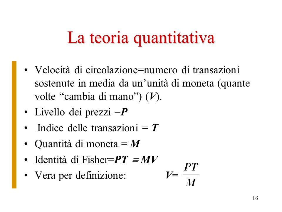 La teoria quantitativa