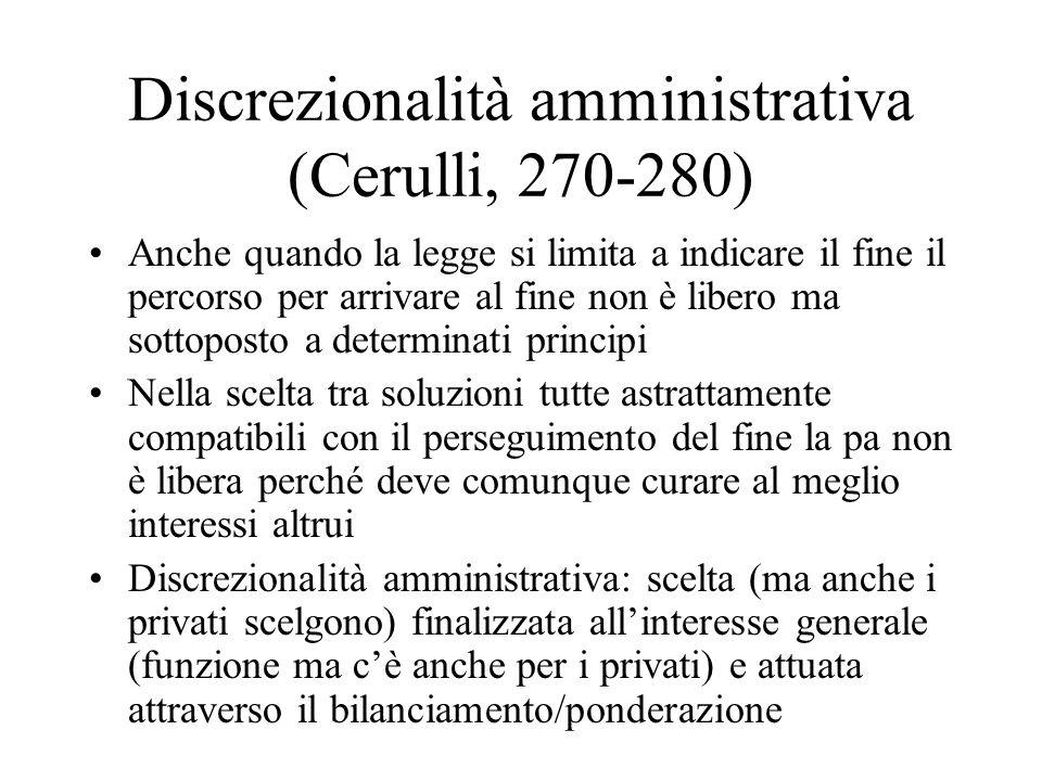 Discrezionalità amministrativa (Cerulli, 270-280)