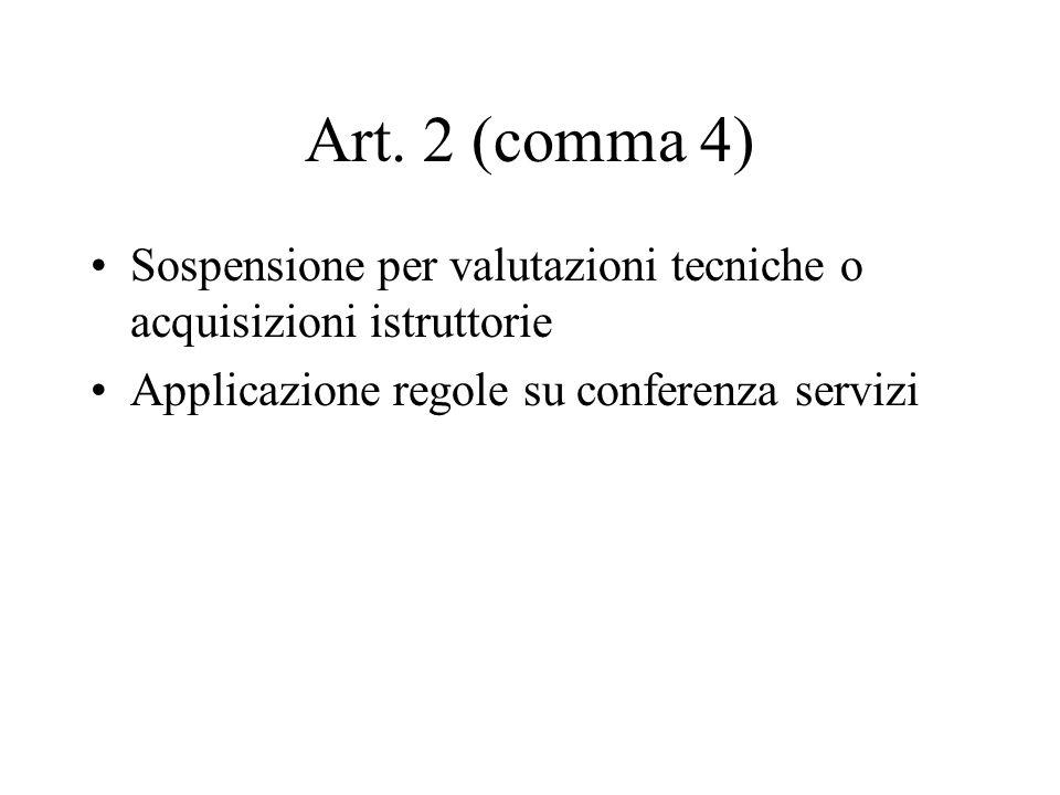 Art. 2 (comma 4) Sospensione per valutazioni tecniche o acquisizioni istruttorie.