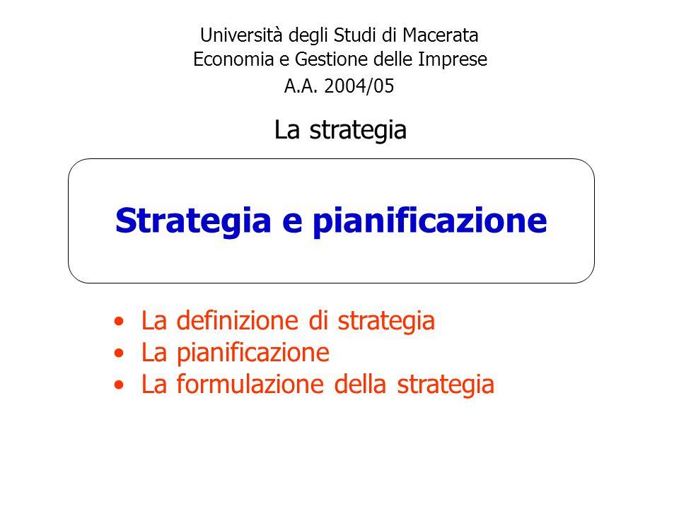 Strategia e pianificazione