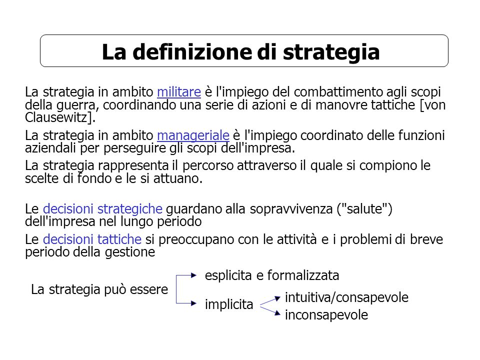 La definizione di strategia