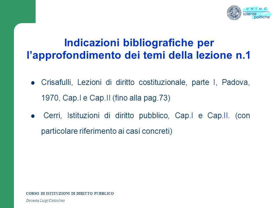 Indicazioni bibliografiche per l'approfondimento dei temi della lezione n.1