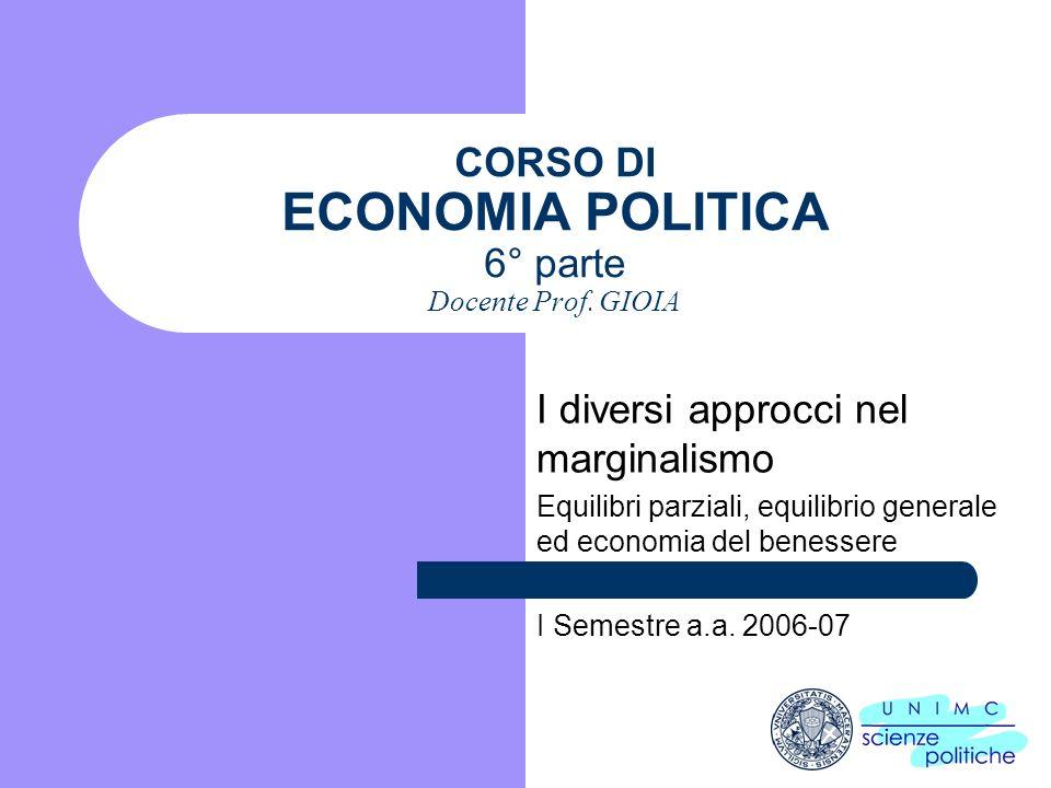 CORSO DI ECONOMIA POLITICA 6° parte Docente Prof. GIOIA