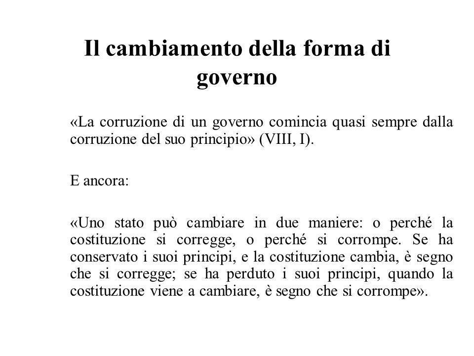 Il cambiamento della forma di governo