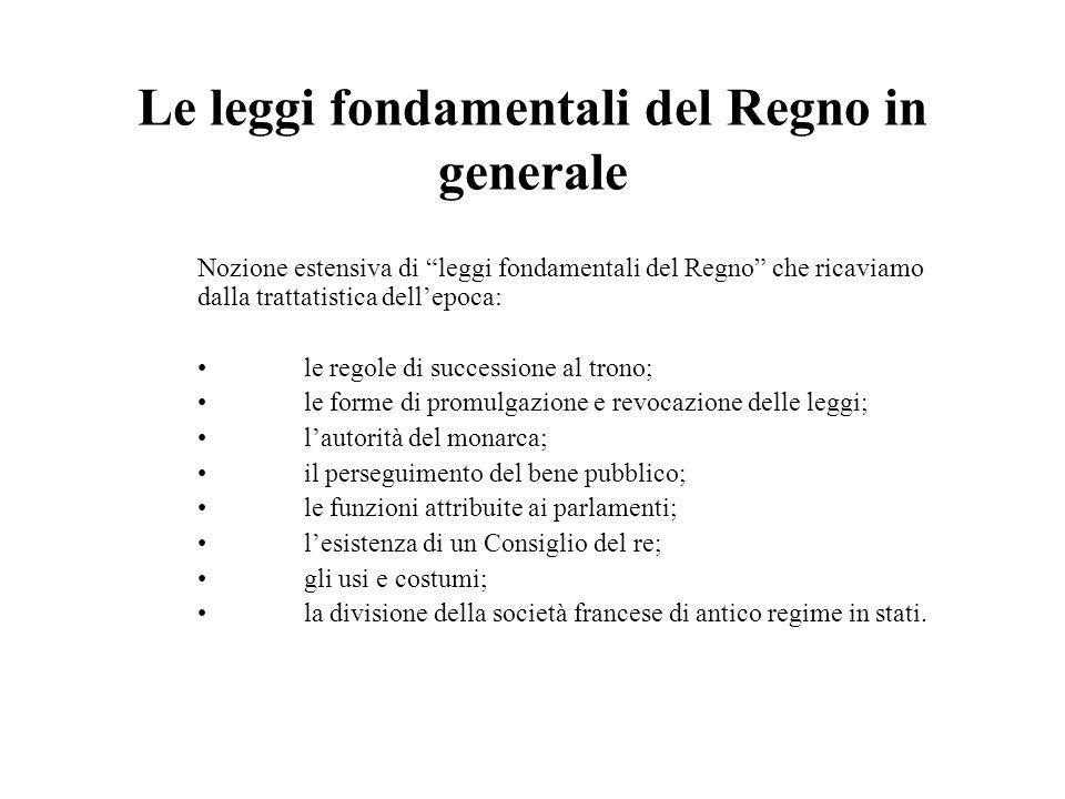 Le leggi fondamentali del Regno in generale